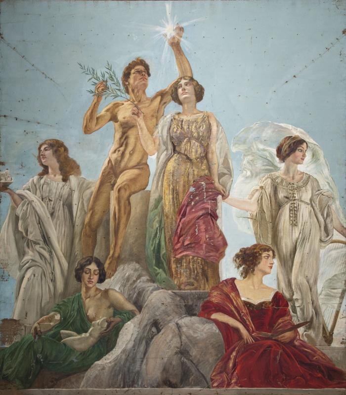 Edoardo Gioia, L'Italia vittoriosa con la Forza e l'Intelligenza (particolare), Galleria Nazionale d'arte moderna e contemporanea