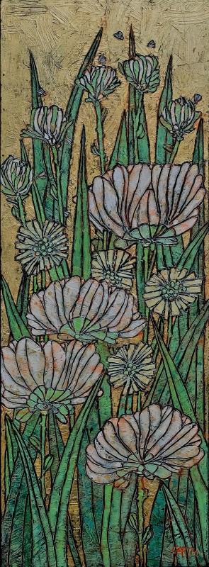 Garth Speight, Gruppo di crisantemi, acrilico, cm. 38x90