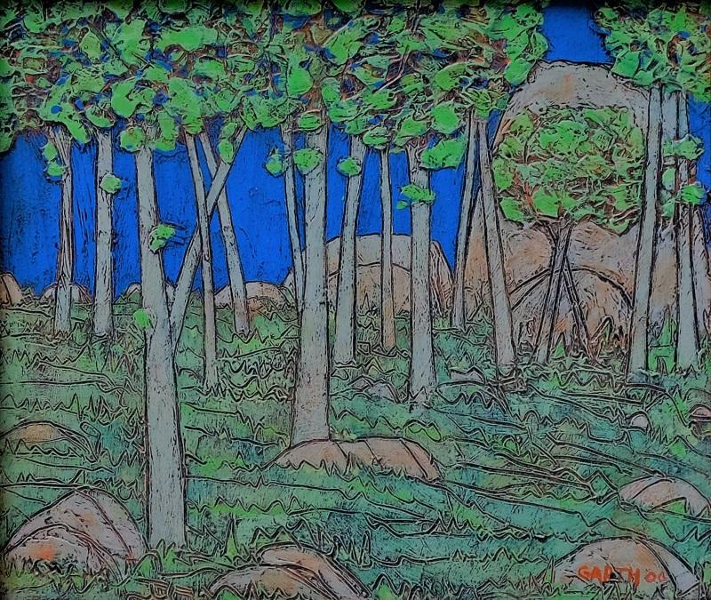 Garth Speight, Magia notturna del Palatino, acrilico, cm. 34x29