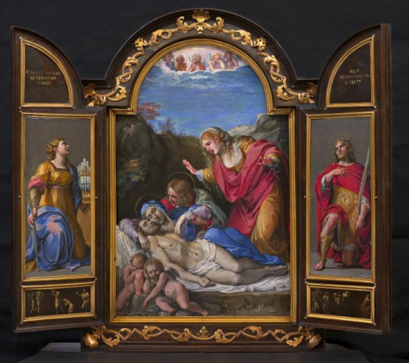 Tabernacolo portatile con la Pietà, scene di santi e martiri, Annibale Carracci