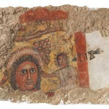 Frammento di pittura parietale con testa virile e iscrizione in sudarabico antico: scena di banchetto (?) I-II secolo d.C. Qaryat al-Faw, quartiere residenziale (palazzo) National Museum, Riad