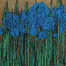 Garth Speight, Iris blu, acrilico, cm. 39x51