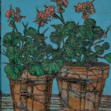 Garth Speight, Vasi con gerani, acrilico, cm. 45x55