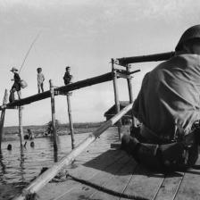 Pattugliamento nel canale, Binh Hung, Vietnam del Sud 1960