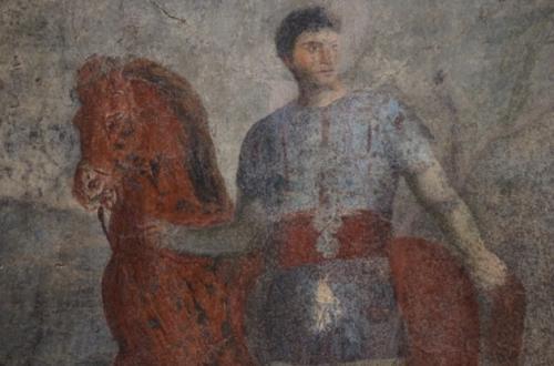 Tomba 19, Affresco di giovane vestito da auriga - Eppur si espone